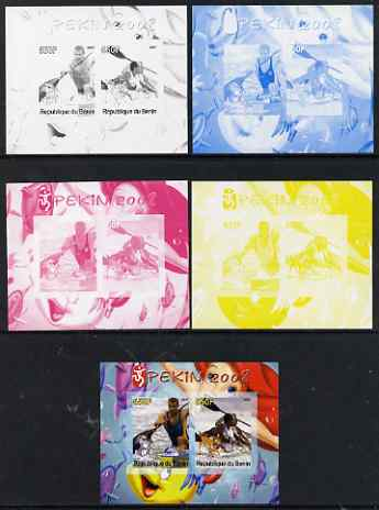 Benin 2007 Beijing Olympic Games #05 - Rowing (2) s/sheet containing 2 values (Disney characters in background) - the set of 5 imperf progressive proofs comprising the 4 individual colours plus all 4-colour composite, unmounted mint
