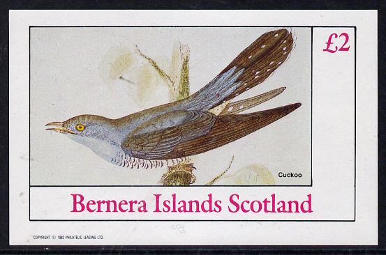 Bernera 1982 Birds #13 (Cuckoo) imperf deluxe sheet (�2 value) unmounted mint