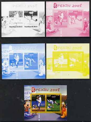 Benin 2007 Beijing Olympic Games #09 - Baseball (3) s/sheet containing 2 values (Disney characters in background) - the set of 5 imperf progressive proofs comprising the 4 individual colours plus all 4-colour composite, unmounted mint