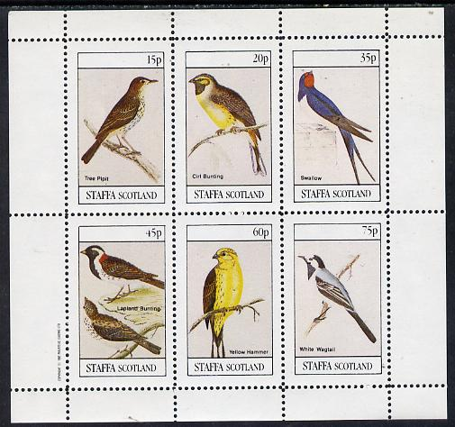 Staffa 1982 Birds #08 (Tree Pipit, Swallow, Wagtail, etc) perf set of 6 values (15p to 75p) unmounted mint