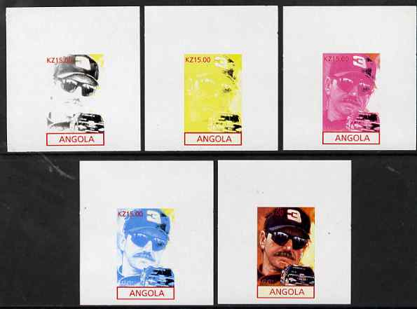 Angola 2001 American Sports Stars - Dale Earnhardt - the set of 5 imperf progressive proofs comprising colour combinations plus all 5-colour composite, unmounted mint