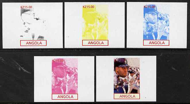 Angola 2001 American Sports Stars - Baseball - the set of 5 imperf progressive proofs comprising colour combinations plus all 5-colour composite, unmounted mint