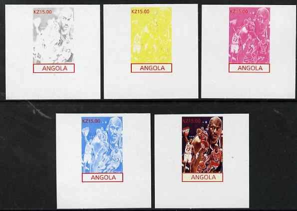 Angola 2001 American Sports Stars - Basketball - the set of 5 imperf progressive proofs comprising colour combinations plus all 5-colour composite, unmounted mint