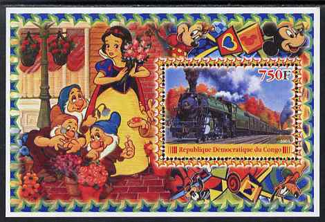 Congo 2005 Steam Locos #02 perf s/sheet with Disney characters in background unmounted mint. Note this item is privately produced and is offered purely on its thematic appeal