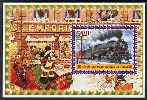 Congo 2005 Steam Locos #04 perf s/sheet with Disney characters in background unmounted mint. Note this item is privately produced and is offered purely on its thematic appeal