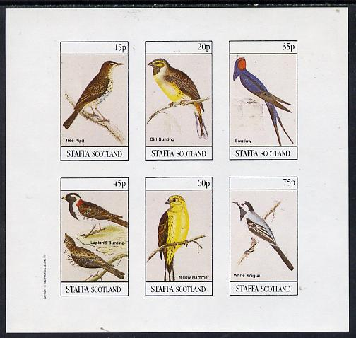 Staffa 1982 Birds #08 (Tree Pipit, Swallow, Wagtail, etc) imperf set of 6 values (15p to 75p) unmounted mint