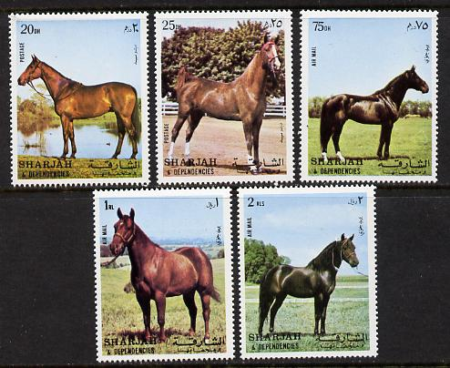 Sharjah 1972 Horses set of 5 unmounted mint (Mi 1006-10A)