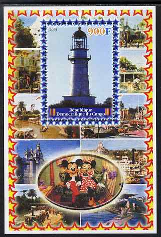 Congo 2005 Lighthouses #03 perf s/sheet with Disney characters in background unmounted mint