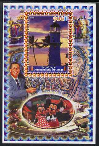 Congo 2005 Lighthouses #04 perf s/sheet with Disney characters in background unmounted mint