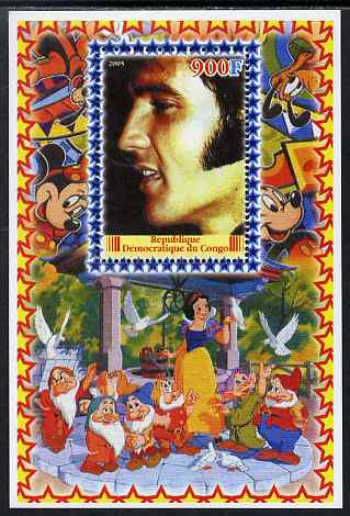 Congo 2005 Elvis Presley #01 perf s/sheet with Disney characters in background unmounted mint