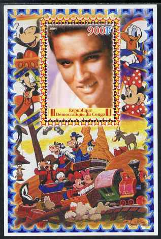 Congo 2005 Elvis Presley #03 perf s/sheet with Disney characters in background unmounted mint. Note this item is privately produced and is offered purely on its thematic appeal