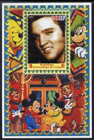 Congo 2005 Elvis Presley #04 perf s/sheet with Disney characters in background unmounted mint