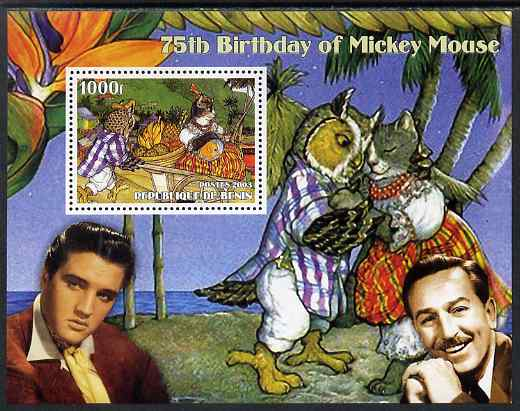 Benin 2003 75th Birthday of Mickey Mouse - The Owl & the Pussy Cat #3 (also shows Elvis & Walt Disney) perf m/sheet unmounted mint. Note this item is privately produced and is offered purely on its thematic appeal