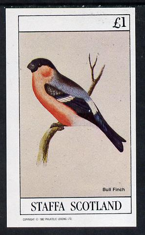 Staffa 1982 Birds #08 (Bull Finch) imperf souvenir sheet (�1 value)  unmounted mint
