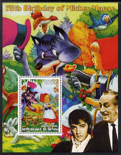 Benin 2003 75th Birthday of Mickey Mouse - Little Red Riding Hood #01 (also shows Elvis & Walt Disney) perf m/sheet unmounted mint. Note this item is privately produced and is offered purely on its thematic appeal
