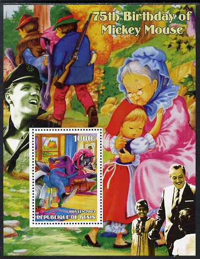 Benin 2003 75th Birthday of Mickey Mouse - Little Red Riding Hood #02 (also shows Elvis & Walt Disney) perf m/sheet unmounted mint. Note this item is privately produced and is offered purely on its thematic appeal