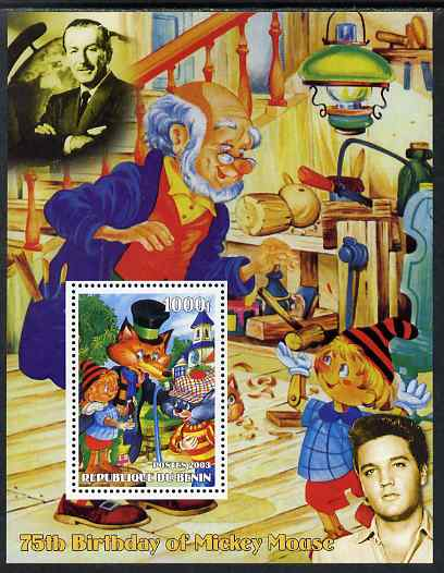 Benin 2003 75th Birthday of Mickey Mouse - Pinocchio #02 (also shows Elvis & Walt Disney) perf m/sheet unmounted mint. Note this item is privately produced and is offered purely on its thematic appeal