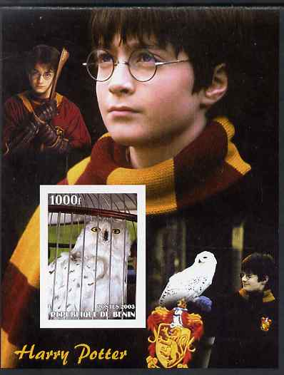 Benin 2003 Owls perf m/sheet with Harry Potter in background, unmounted mint. Note this item is privately produced and is offered purely on its thematic appeal