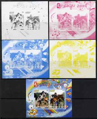 Benin 2007 Beijing Olympic Games #02 - Show Jumping (2) s/sheet containing 2 values (Disney characters in background) - the set of 5 imperf progressive proofs comprising ...