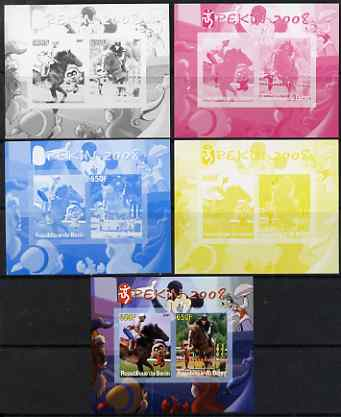 Benin 2007 Beijing Olympic Games #03 - Show Jumping (3) s/sheet containing 2 values (Disney characters in background) - the set of 5 imperf progressive proofs comprising ...