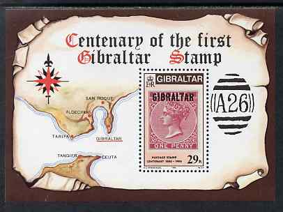 Gibraltar 1986 Stamp Centenary perf m/sheet unmounted mint, SG MS539