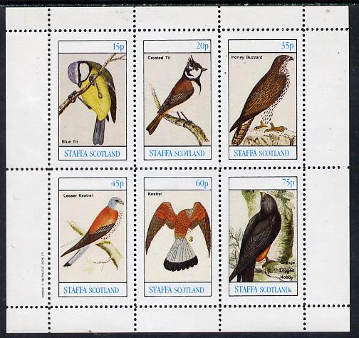 Staffa 1982 Birds #09 (Blue Tit, Kestrel, Hobby etc) perf set of 6 values (15p to 75p) unmounted mint