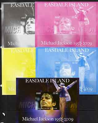 Easdale 2009 Michael Jackson m/sheet - the set of 5 imperf progressive proofs comprising the 4 individual colours plus all 4-colour composite, unmounted mint