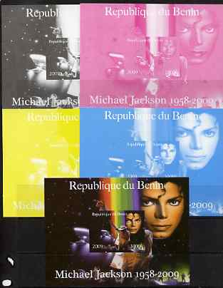 Benin 2009 Michael Jackson m/sheet - the set of 5 imperf progressive proofs comprising the 4 individual colours plus all 4-colour composite, unmounted mint