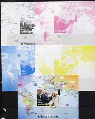 Chad 2009 World Personalities - The Pope, Shimon Peres & Netanyahu s/sheet - the set of 5 imperf progressive proofs comprising the 4 individual colours plus all 4-colour ...