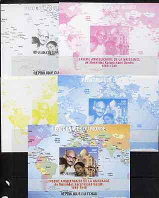 Chad 2009 World Personalities - Mahatma Gandhi s/sheet - the set of 5 imperf progressive proofs comprising the 4 individual colours plus all 4-colour composite, unmounted mint