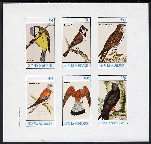 Staffa 1982 Birds #09 (Blue Tit, Kestrel, Hobby etc) imperf set of 6 values (15p to 75p) unmounted mint