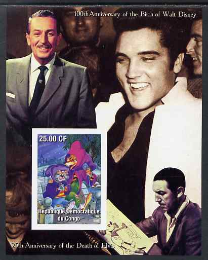 Congo 2002 Birth Centenary of Walt Disney & 25th Anniversary of Death of Elvis #1 imperf m/sheet unmounted mint. Note this item is privately produced and is offered purely on its thematic appeal