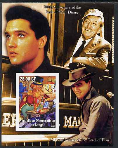 Congo 2002 Birth Centenary of Walt Disney & 25th Anniversary of Death of Elvis #4 imperf m/sheet unmounted mint. Note this item is privately produced and is offered purely on its thematic appeal