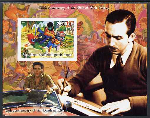 Congo 2002 Birth Centenary of Walt Disney & 25th Anniversary of Death of Elvis #6 imperf m/sheet unmounted mint. Note this item is privately produced and is offered purely on its thematic appeal