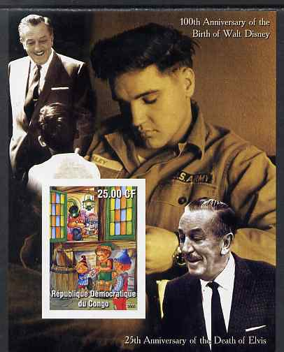 Congo 2002 Birth Centenary of Walt Disney & 25th Anniversary of Death of Elvis #7 imperf m/sheet unmounted mint. Note this item is privately produced and is offered purely on its thematic appeal