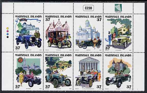Marshall Islands 2005 Vintage Cars - 6th series perf se-tenant block of 8 unmounted mint, SG 1883-90