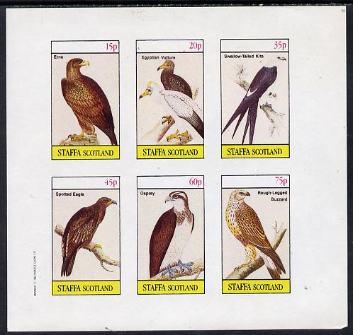 Staffa 1982 Birds of Prey #07 (Erne, Osprey, Kite etc) imperf set of 6 values (15p to 75p) unmounted mint