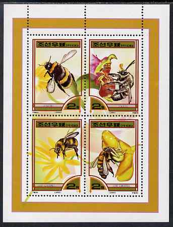North Korea 2000 Fauna - Bees perf sheetlet containing 4 values unmounted mint SG N4020-23