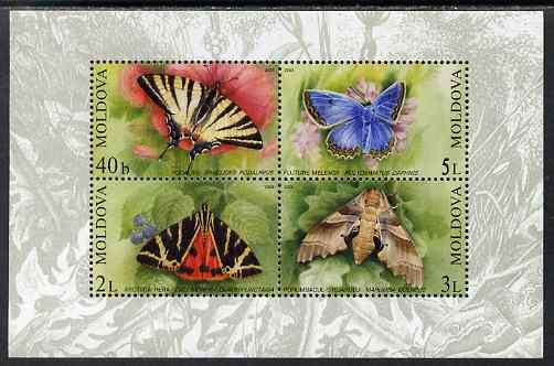 Moldova 2003 Butterflies & Moths perf m/sheet containing 4 values unmounted mint, SG MS 459