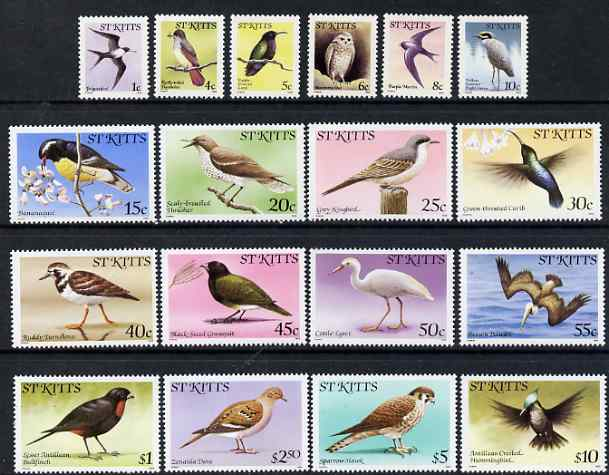 St Kitts 1981-82 Birds definitive set of 18 values complete with imprint date unmounted mint, SG 53B-70B