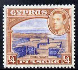 Cyprus 1938-51 KG6 Ruins 1/4pi ultramarine & orange-brown unmounted mint, SG 151