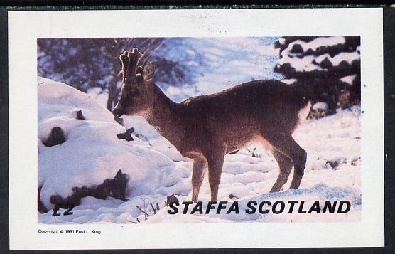 Staffa 1981 Deer imperf deluxe sheet (�2 value) unmounted mint
