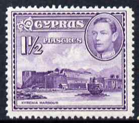 Cyprus 1938-51 KG6 Kyrenia Harbour 1.5pi violet unmounted mint, SG 155a