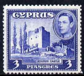 Cyprus 1938-51 KG6 Kolossi Castle 3pi ultramarine unmounted mint, SG 156a