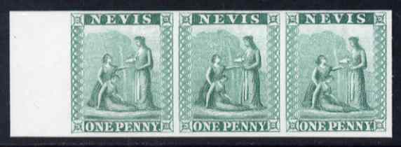 Nevis 1861 Medical Springs 6d imperf plate proof strip of 3 in green on thin card