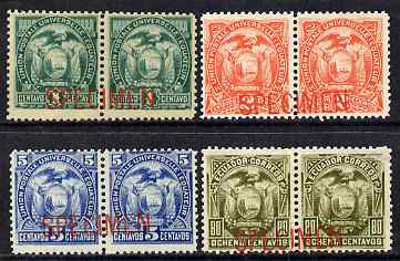 Ecuador 1887 Set of 4 horiz pairs each overprinted Specimen ex ABN Archives, some gum disturbance as SG 26-29