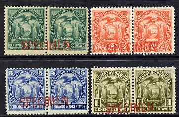 Ecuador 1887 Set of 4 horiz pairs each overprinted Specimen ex ABN Archives, unmounted mint as SG 26-29