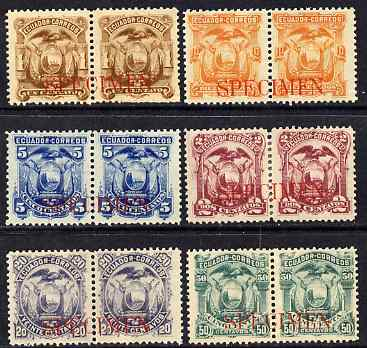Ecuador 1881 Set of 6 horiz pairs each overprinted Specimen ex ABN Archives, some gum disturbances or rejoined as SG 13-18