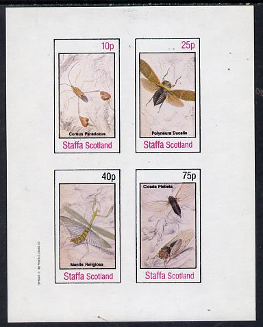 Staffa 1982 Insects imperf  set of 4 values (10p to 75p) unmounted mint