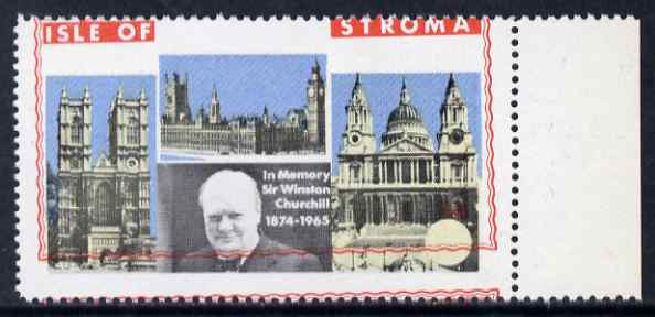 Stroma 1968 Churchill 6d marginal single with red (frame) misplaced upwards by 3 mm slight offset otherwise unmounted and spectacular